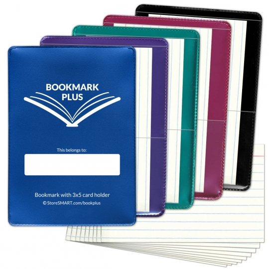 Bookmark PLUS With 3x5 Card Holder Metallic Colors 5 Pack With 50