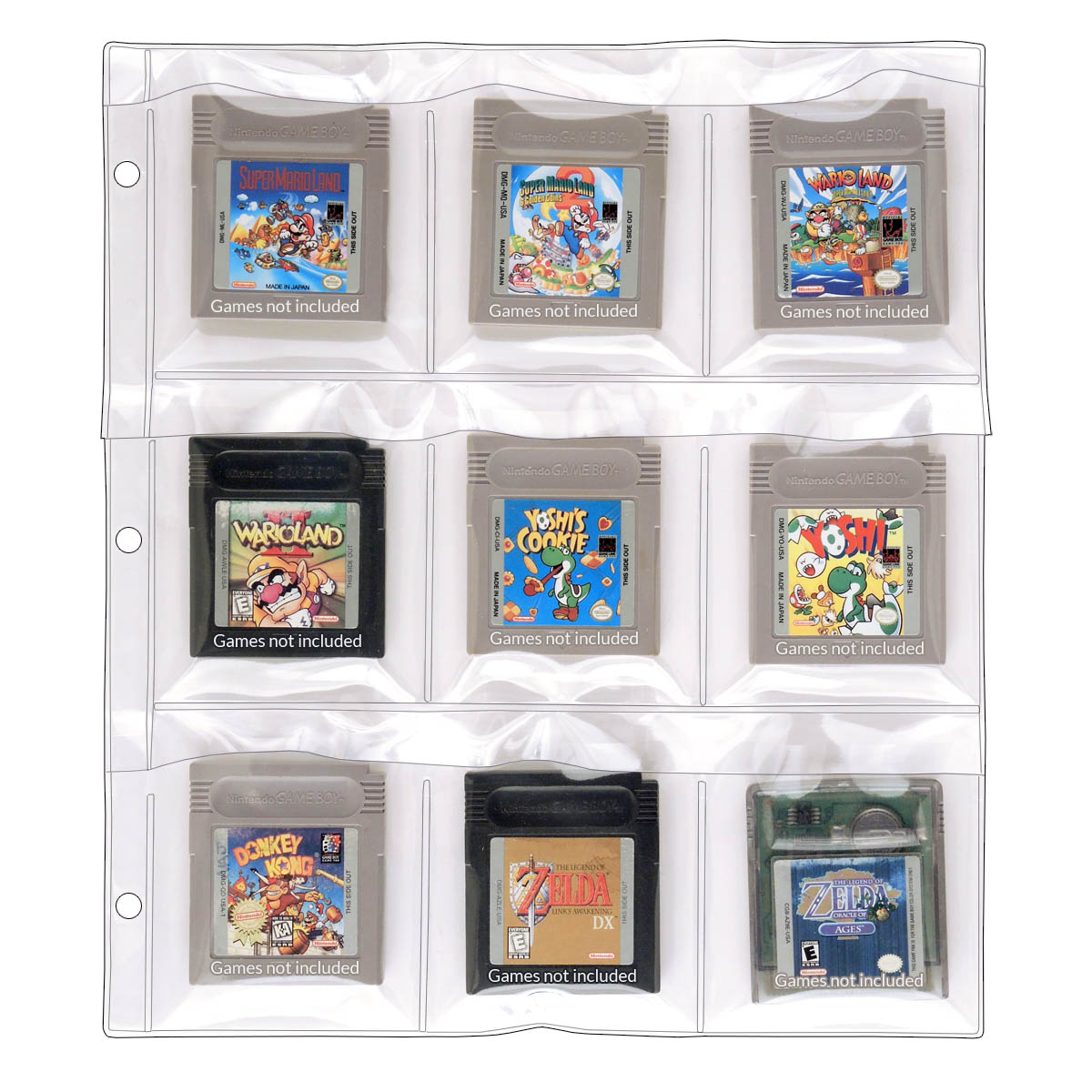 9-Pocket Binder Page For GameBoy Cartridges: StoreSMART