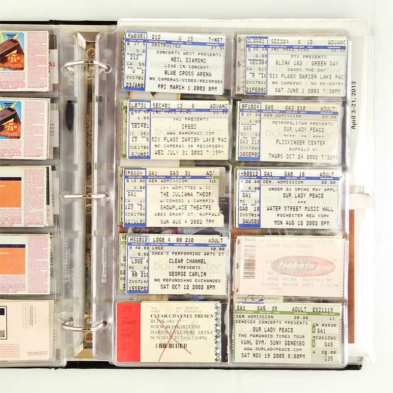 Ticket & Stub Binder Page - 10 Pockets per page